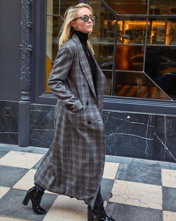 Long Checked Coat