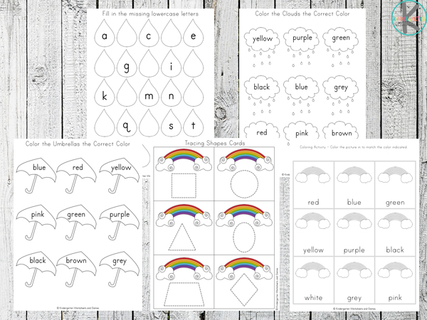 Shapes and Number Rainbow Worksheets for Kids