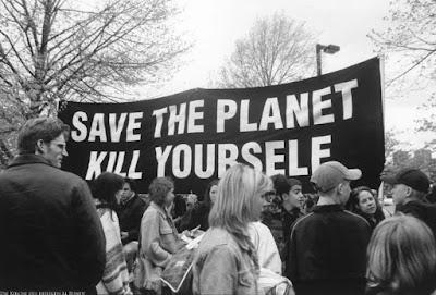 Witziger Protestspruch auf Banner - Rette den Planeten