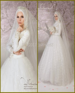 gaun pengantin ball gown muslim