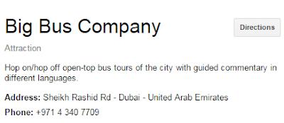 big bus dubai customer service no