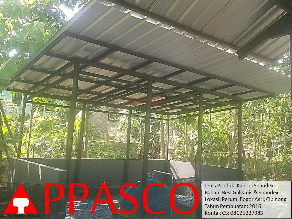 Kanopi Minimalis Spandek di Perum Bogor Asri Cibinong