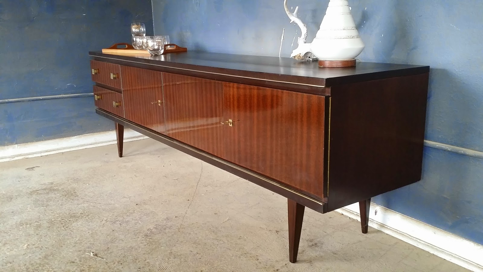 Awesome german mid century low media console credenza buffet