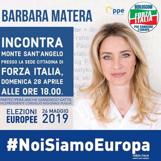 Monte Sant'Angelo, l'On. Barbara Matera domenica 28 aprile incontra la cittadinanza