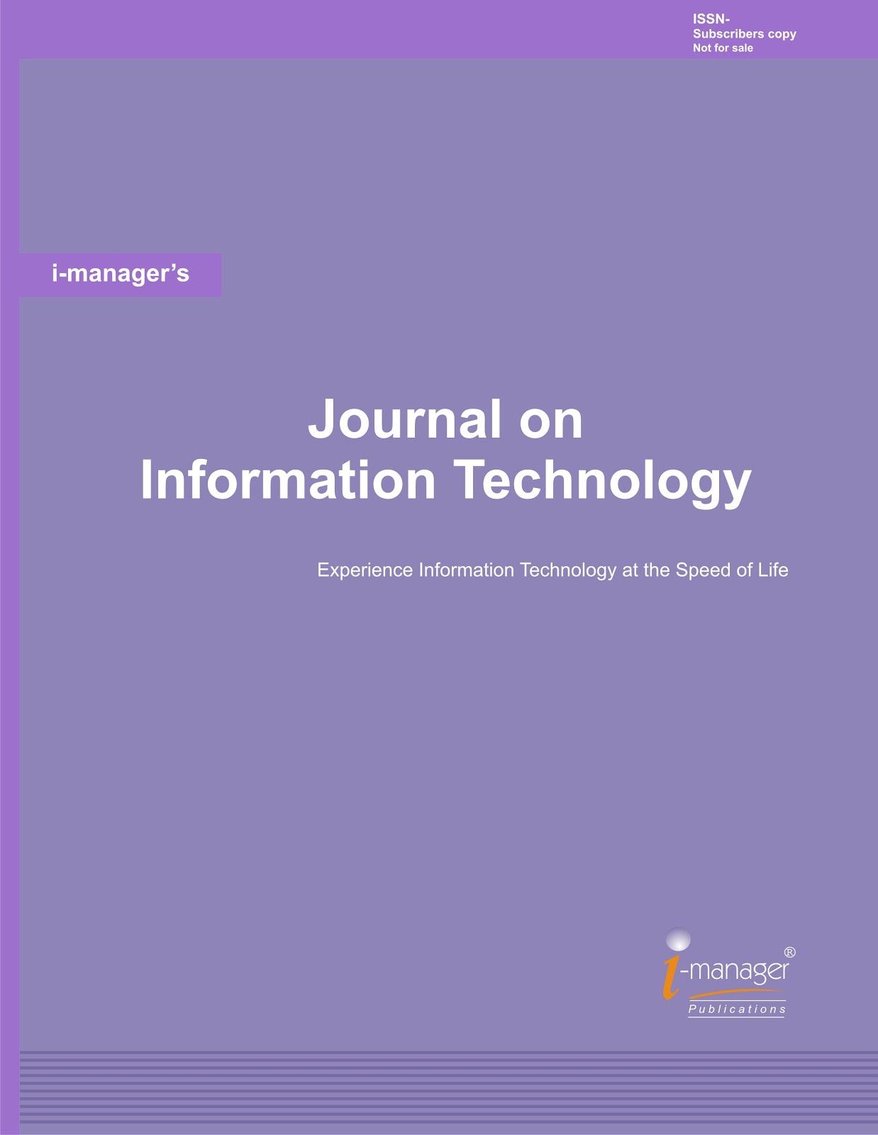 Technology Management Image: I-manager's Journal On Information Technology: I-manager's
