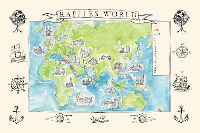Source: Raffles Hotels & Resorts. Illustration from Soirees, Sojourns & Stories.