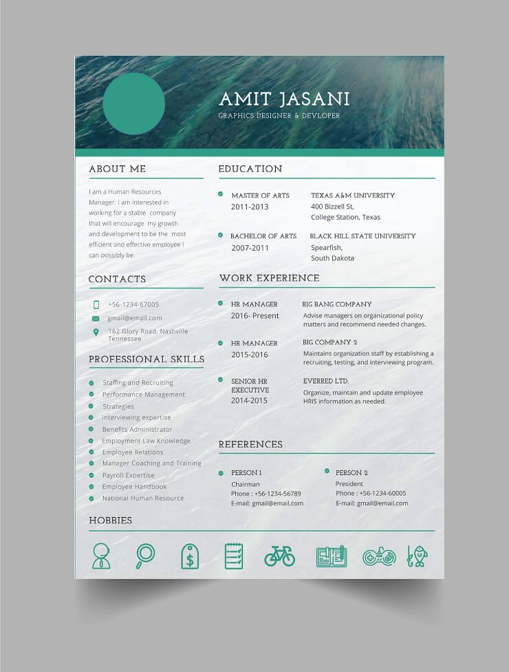 Download Template CV Word 100% Gratis - Free Marbled CV template