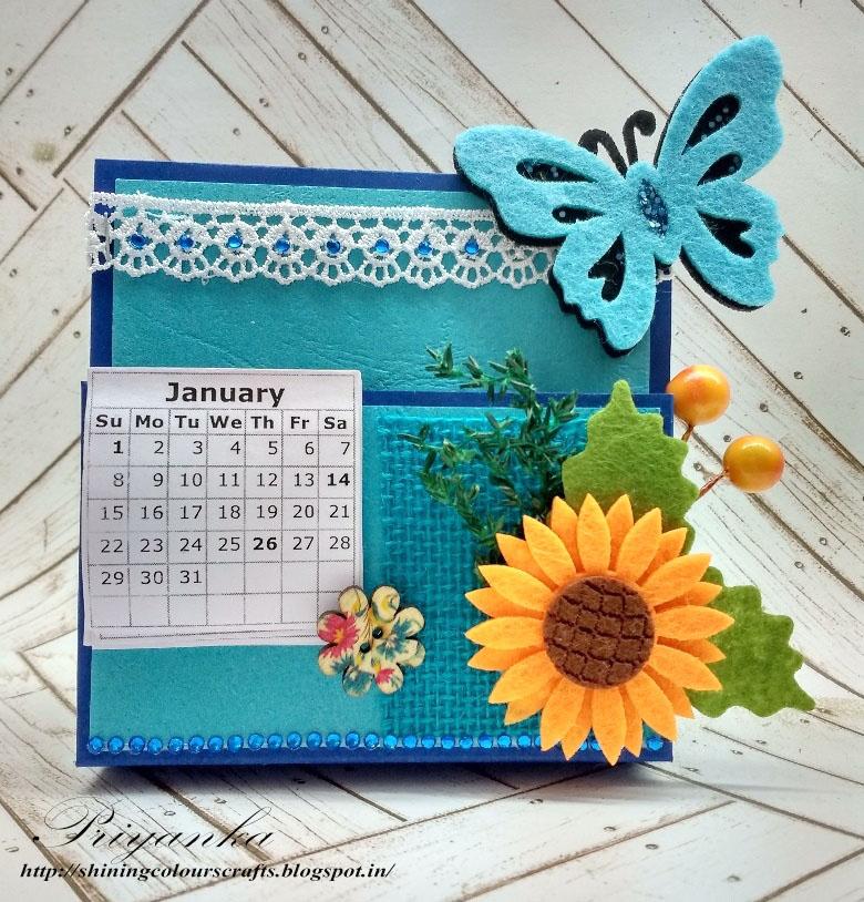 Handmade Calendar Design : Shining colours handmade crafts desk calendar notes holder