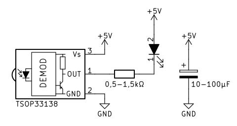 Dispozitiv simplu pentru verificarea funcționării telecomenzilor - schema