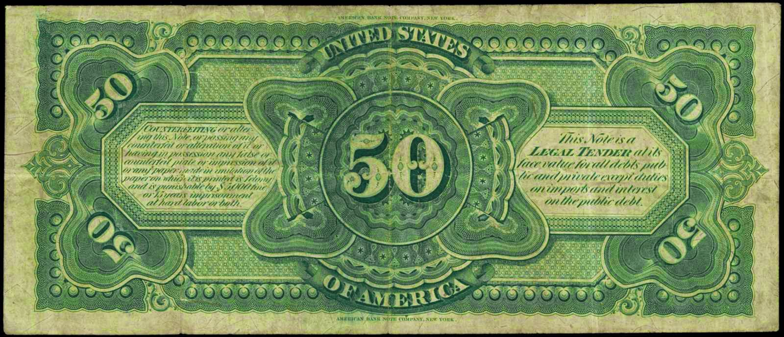 United States paper money 1869 Fifty Dollar Legal Tender Note