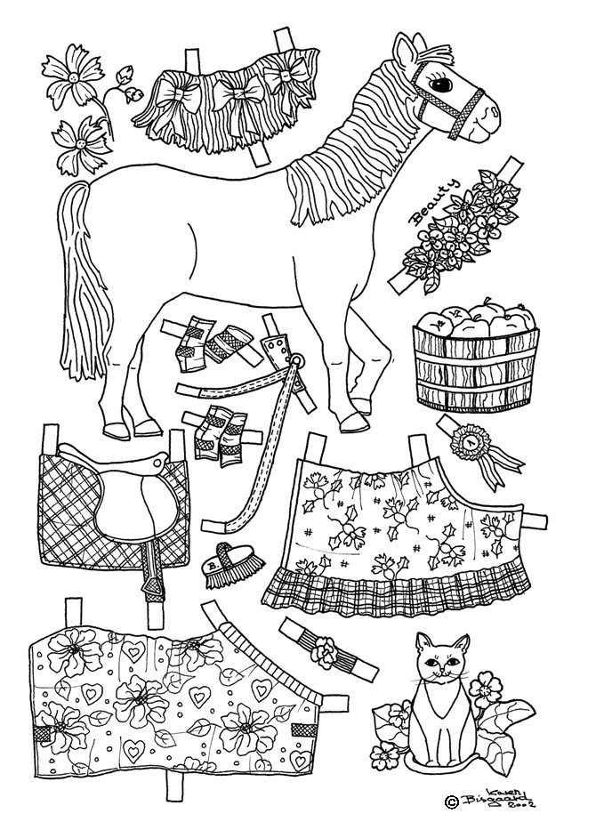 Karen`s Paper Dolls: Horses 1-8 Paper Dolls to Colour