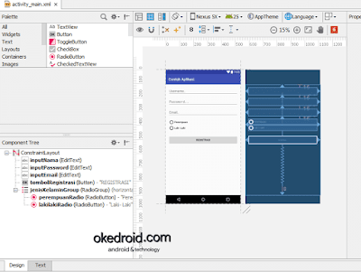 Contoh design activity_main.xml Android Studio