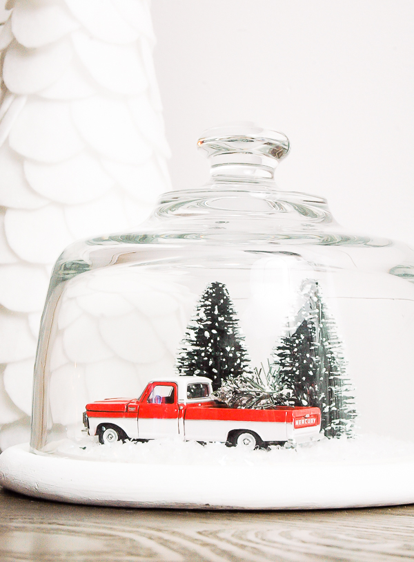 DIY vintage snow globe made with Walmart Christmas decor