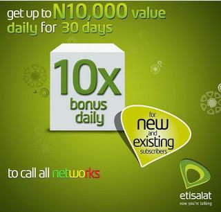 *819*1#: Get 10x Your Recharge Bonus On Etisalat Super Bonus Offer