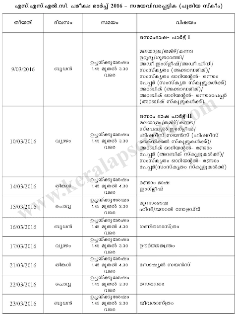 Download Kerala sslc exam timetable 2016, preekshabhavan kerala 10th exam datesheet, class x march exam time table, kerala sslc examination will be done on march 2016, sslc exam time table 2016