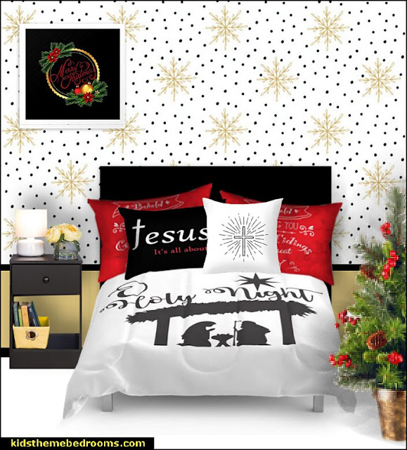 christian bedding christmas bedding  Jesus for kids - Bible Stories wall murals - Christian Bible Verse wall decal stickers - Christian home decor - bible verse wall art -  inspirational bedding - Christian bedding - Christian kids toys - Lion and Lamb toddler beds -  bible stories for kids - Christening Baptism Gifts - Psalm bedding - Scripture throw pillows - bible verse throw pillows -  Vacation Bible School Decorations
