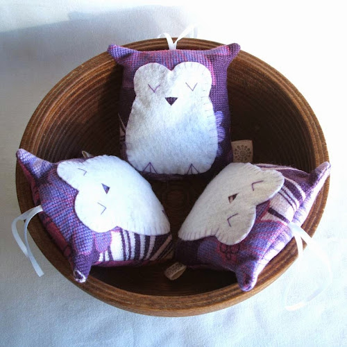 handmade vintage purple fabric owl shaped lavender sachet