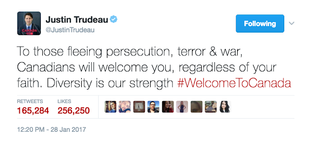Justin Trudeau's tweet on welcoming all refugees