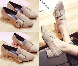 Model sepatu chunky high heels pointed toe untuk wanita kaki besar