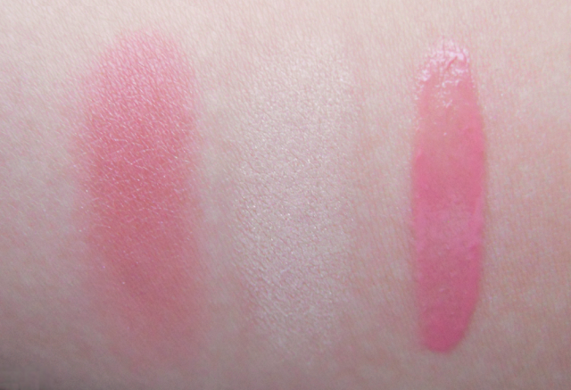 Clinique Ginger Pop blush, Vanilla Pop eyeshadow and Wink Pop lip lacquer, Clinique, Swatches