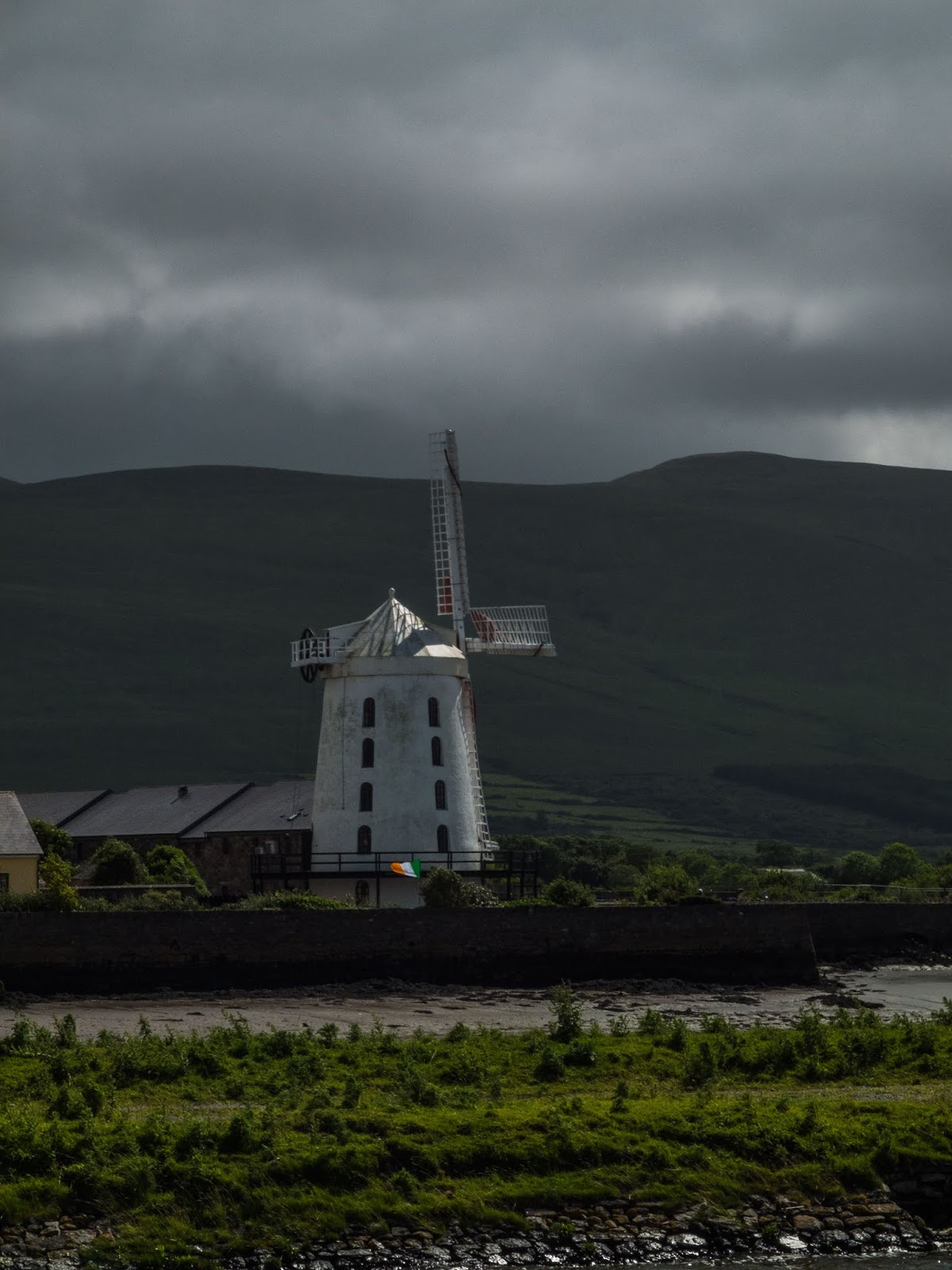 Blennerville Windmill, Tralee, County Kerry on a cloudy day.