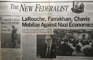 "New Federalist (newspaper) headline: ""LaRouche, Farrakhan, Chavis Mobilize Against Nazi Economics"""