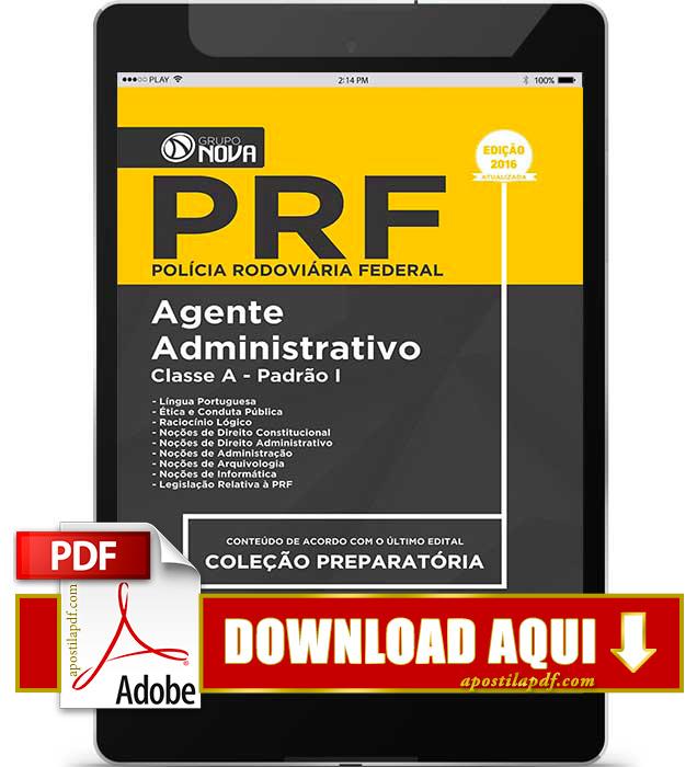 Apostila PRF 2016 PDF Download Agente Administrativo