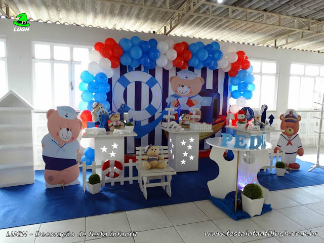 Mesa decorativa Ursinho Marinheiro - Festa de aniversário infantil - Provençal simples