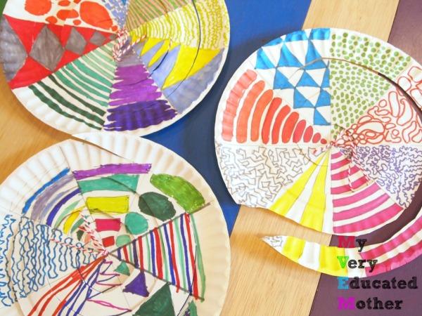 Color paper plates spirals