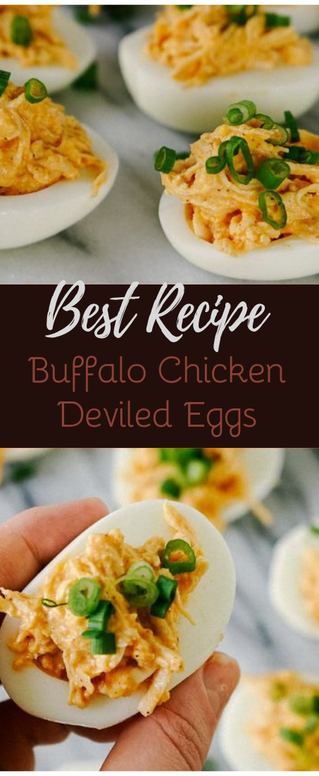 Buffalo Chicken Deviled Eggs #healthyfood #dietketo