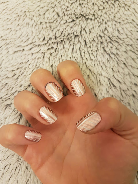 Rose Gold Striped Nail Art