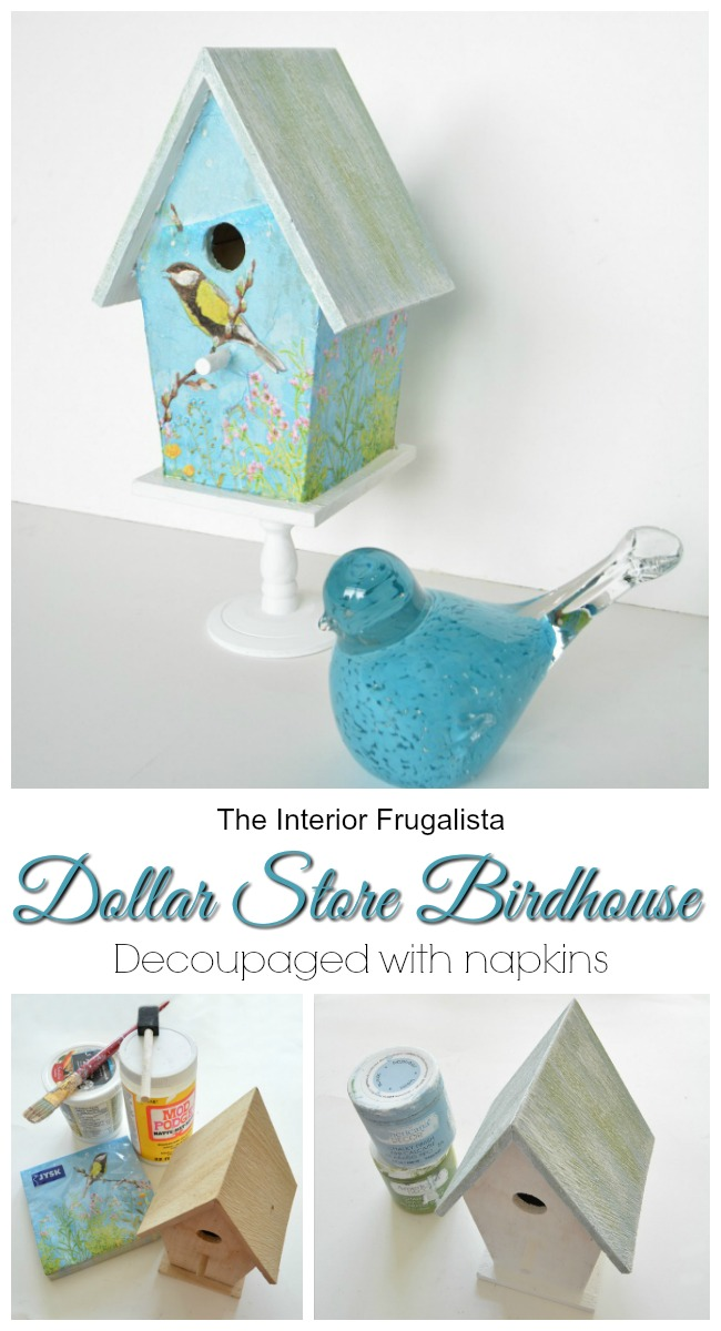 Decoupaged Dollar Store Birdhouse With Napkins