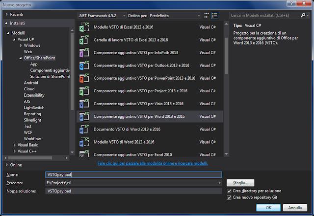 Visual Studio, selezione componente aggiuntivo da creare