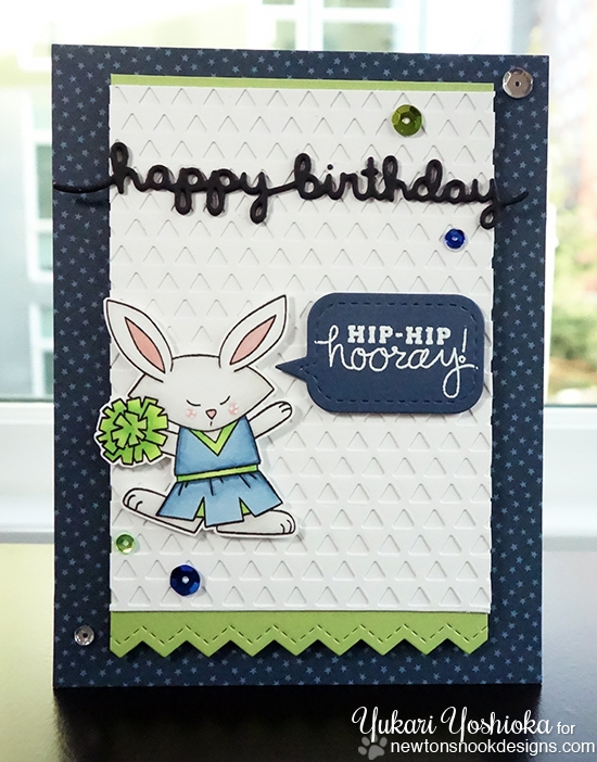 Cheerleading Bunny Birthday card by Yukari Yoshioka | Touchdown Tails Stamp Set by Newton's Nook Designs #newtonsnook