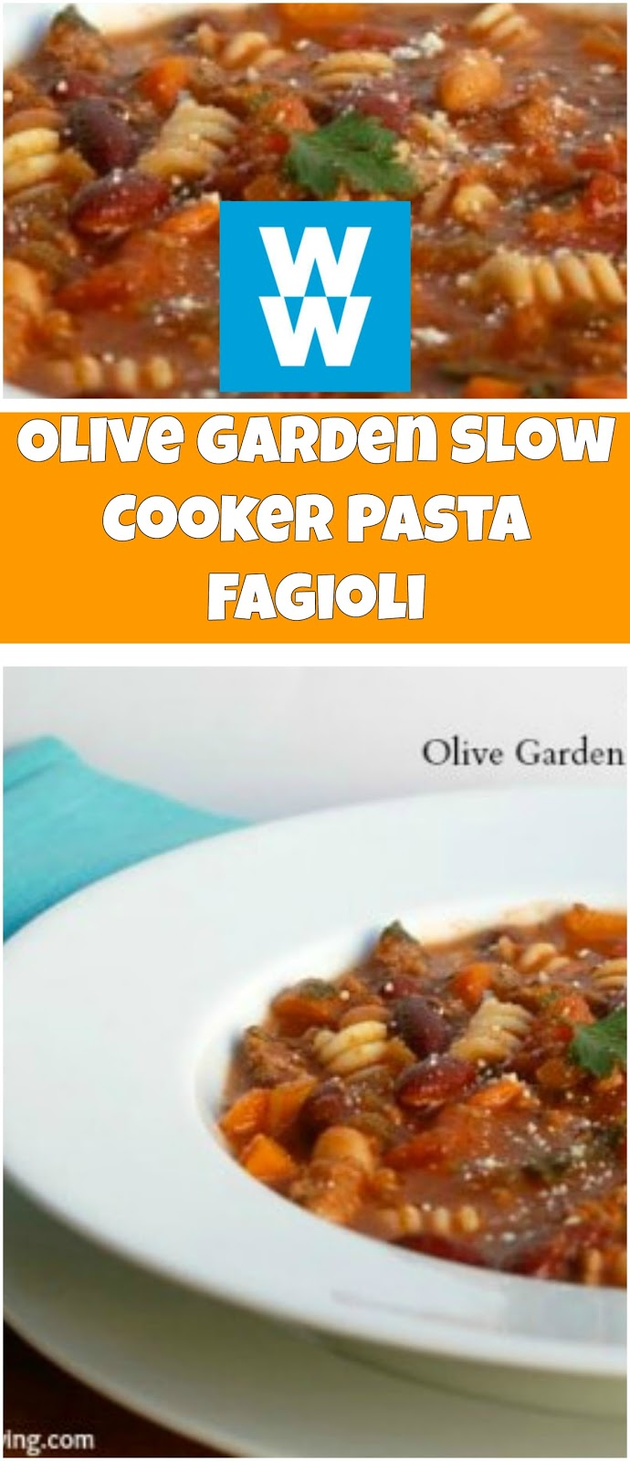 Olive Garden Slow Cooker Pasta Fagioli Recipe 5 Smart Points Weight Watchers Recipes