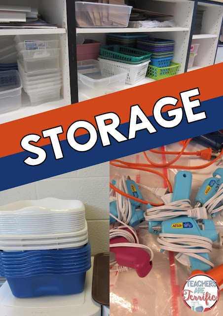 SUPER Tip- You need plenty of bins and dishpans for storage in your STEM and Science class! This blog post has more organizational tips for you!