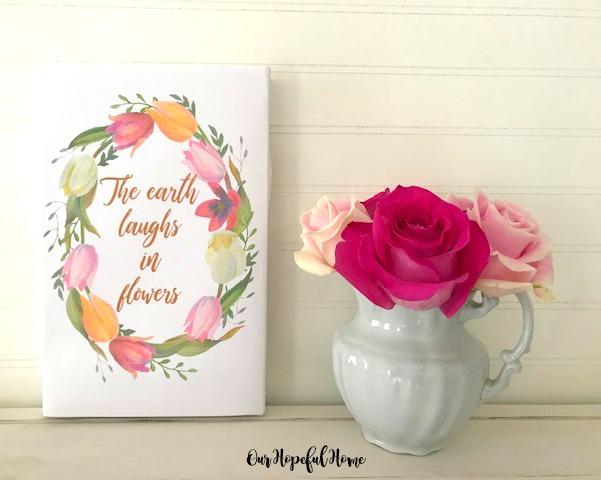 floral spring printable wreath roses the earth laughs in flowers