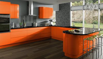 Interior Dapur dan Ruang Makan warna orange