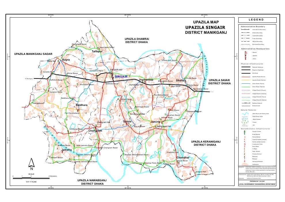 Singair Upazila Map Manikganj  District Bangladesh