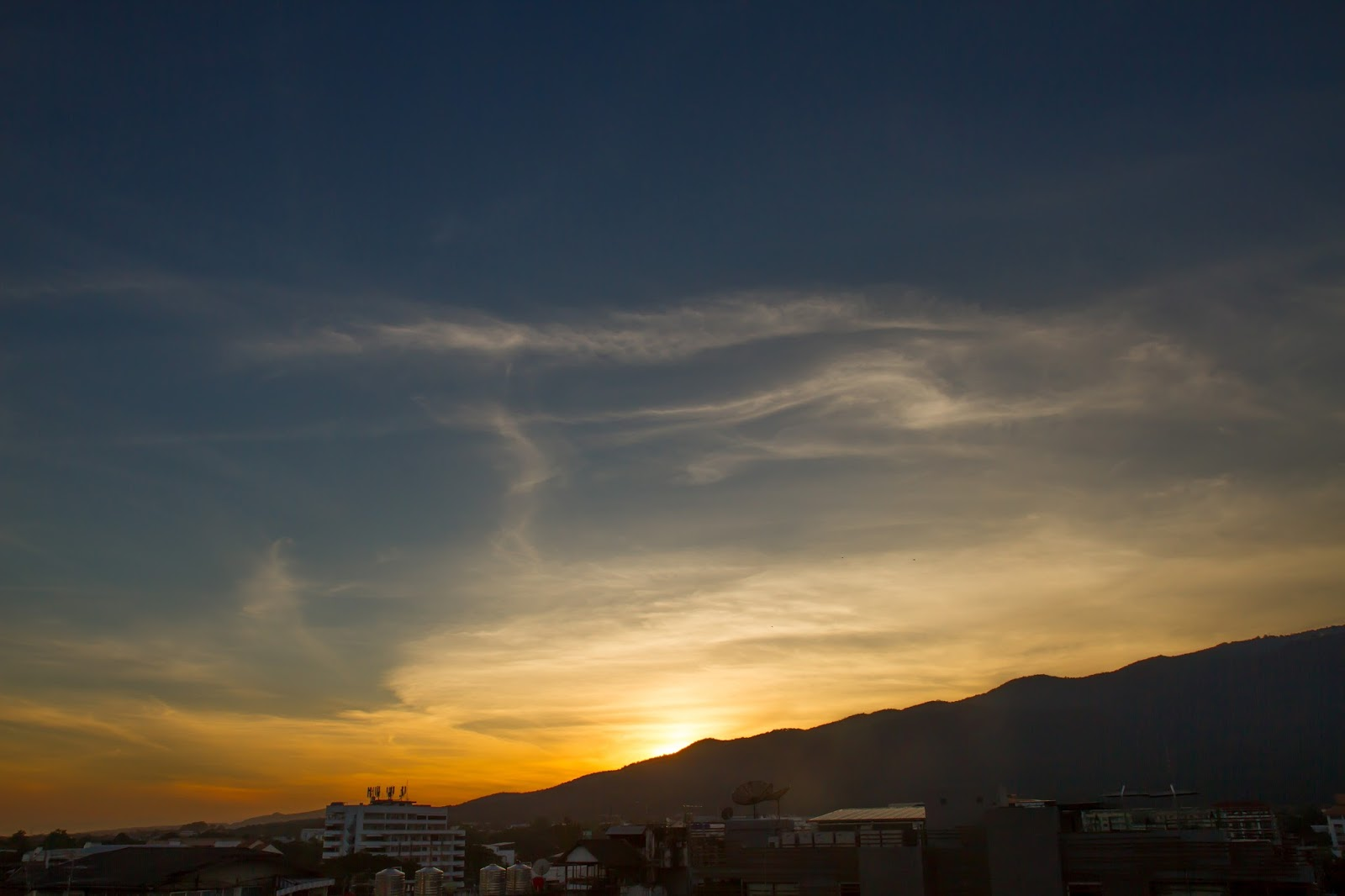 Sunset over Doi Suthep in Chiang Mai Thailand
