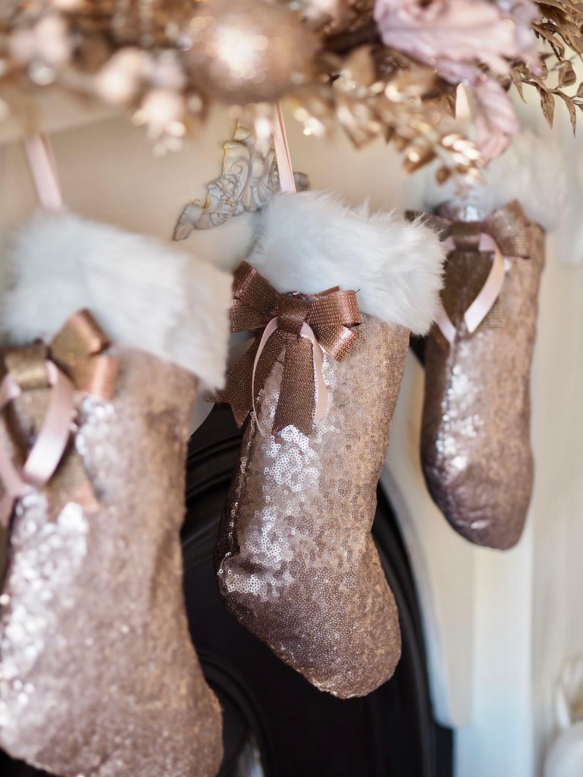 Blush sequin Christmas socks