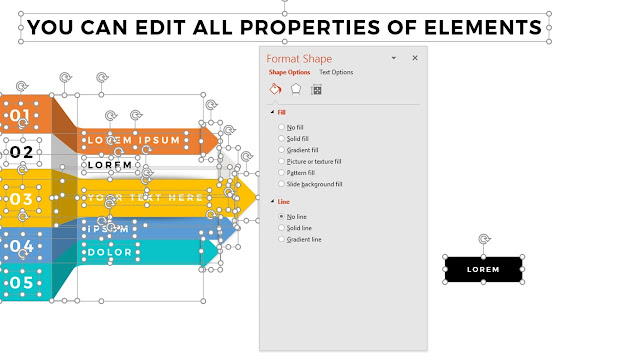 Fully Editable Properties of elements for Multi-Purpose PowerPoint Presentation