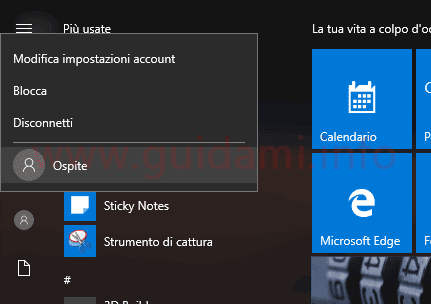 Windows 10 passare a account Ospite da menu Start
