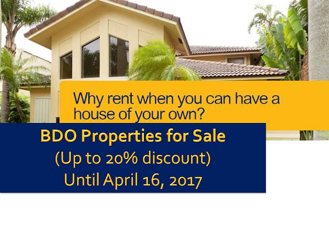 Hundreds of foreclosed properties from BDO are for sale nationwide and you can avail up to 20 percent discount. Below are the list of for sale properties until April 16, 2017. Available properties include condominium units, house and lots, vacant lots, and townhouses that you may avail through low down payment and balance will be payable within five years.