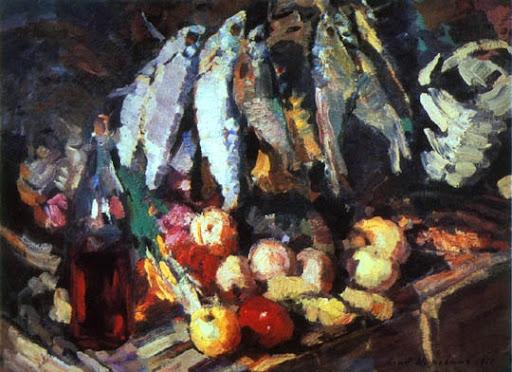 Коровин. Рыбы, вино и фрукты