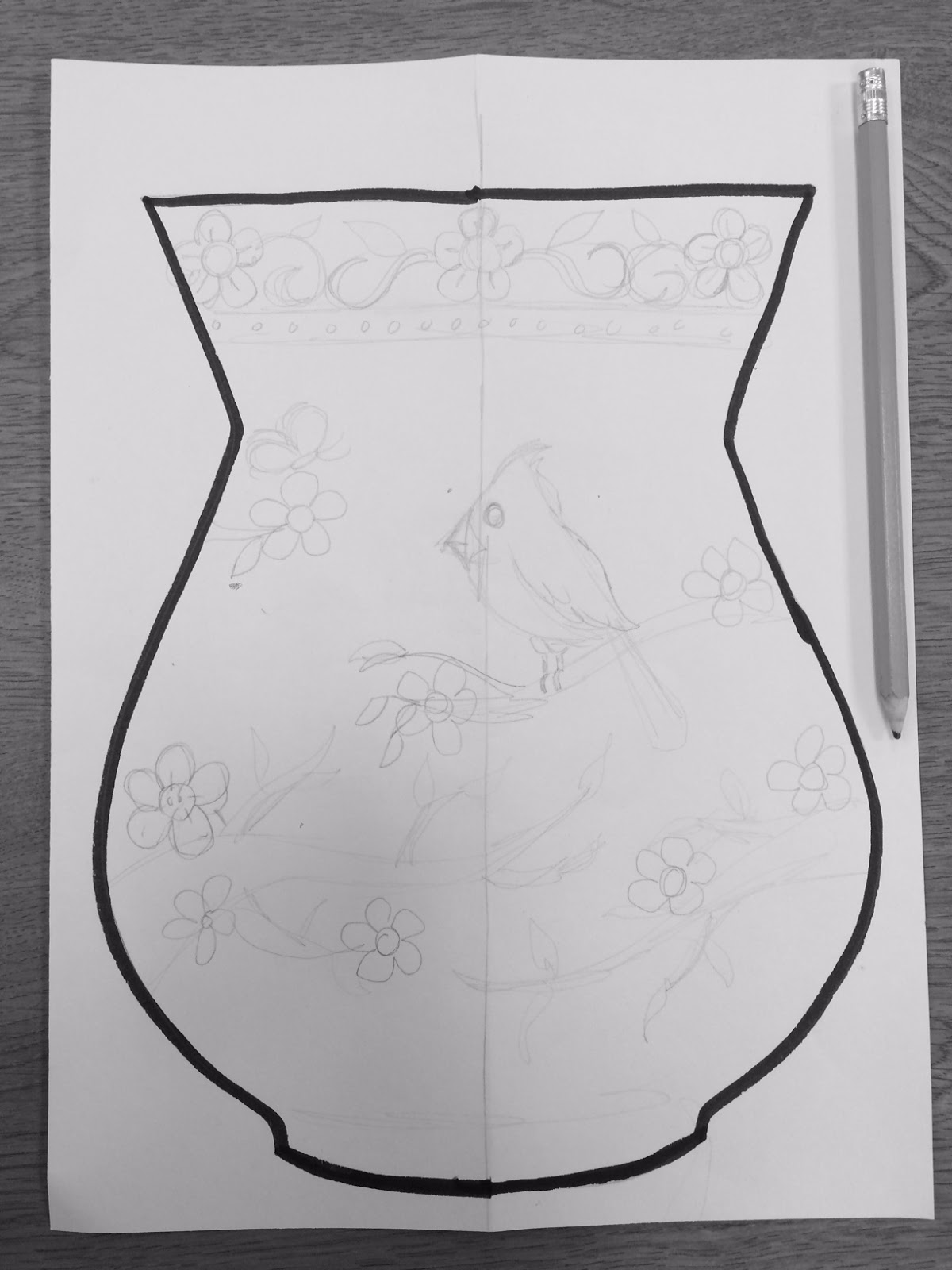 The lost sock chinese flower vase lightly draw your design onto your vase shape with a pencil reviewsmspy