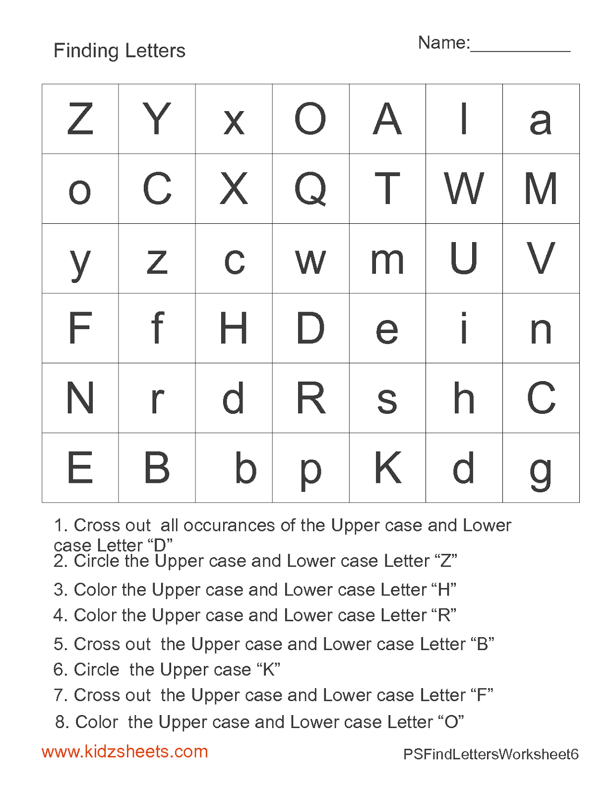 Kidz Worksheets Preschool Find Letters Worksheet6