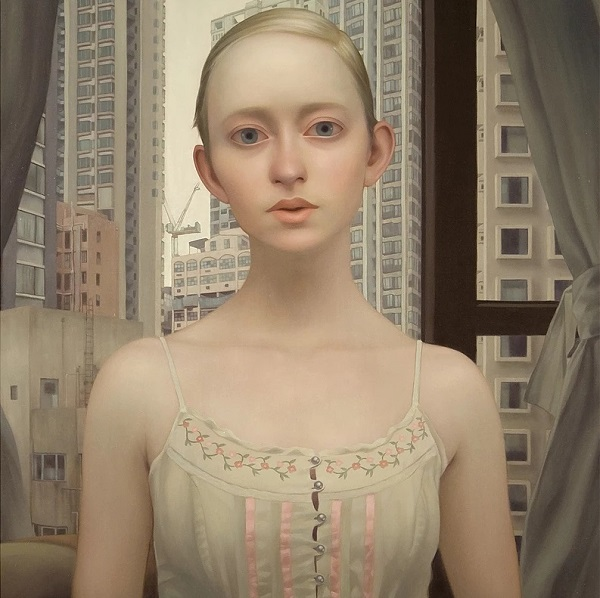"bella obra de arte, pintura al oleo contemporanea, retrato, art inspiration, beautiful oil painting portrait, ""The girl who finds you here"" by Lu Cong - 2009."