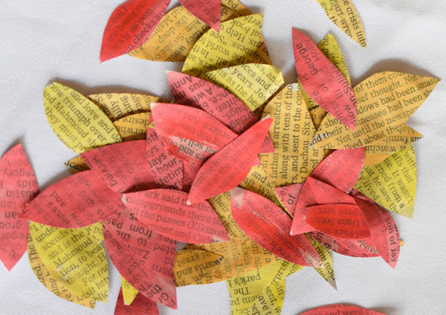 Painted Newspaper Fall Tree Craft for preschool, kindergarten, or elementary.  Fun painting process to try as an autumn activity!