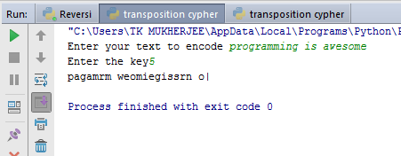 CODE IT TO RULE IT !!: Transposition Cipher (Encrypting)